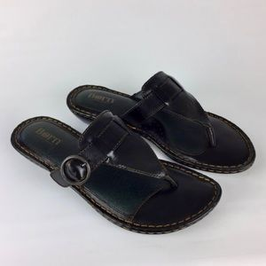 Born Brown Leather Thong Buckle Slide Sandal 8